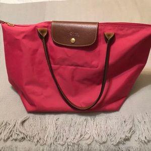 Pink / fuchsia longchamp tote bag